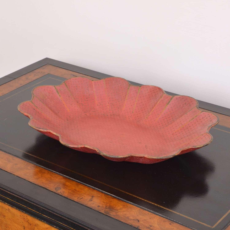 19th Century red papier-mâché bowl