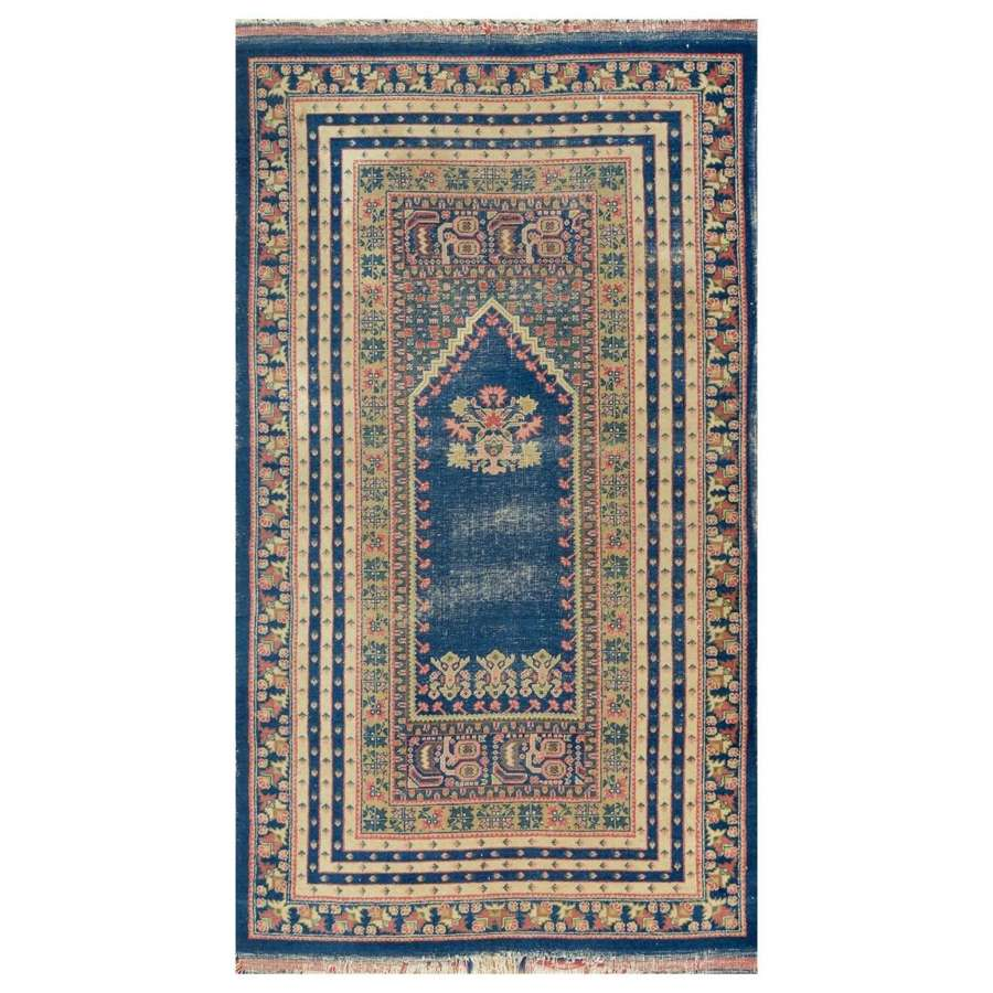 Blue Turkish Kula prayer rug