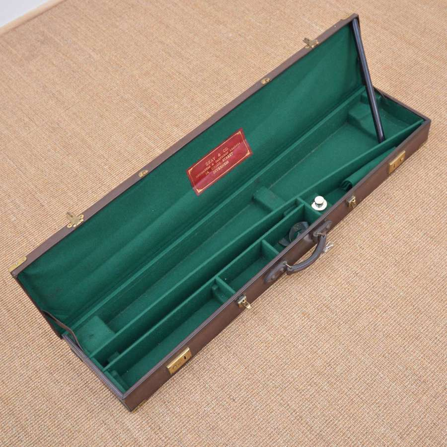 Brown leather rifle case - by Gray & Co, Inverness