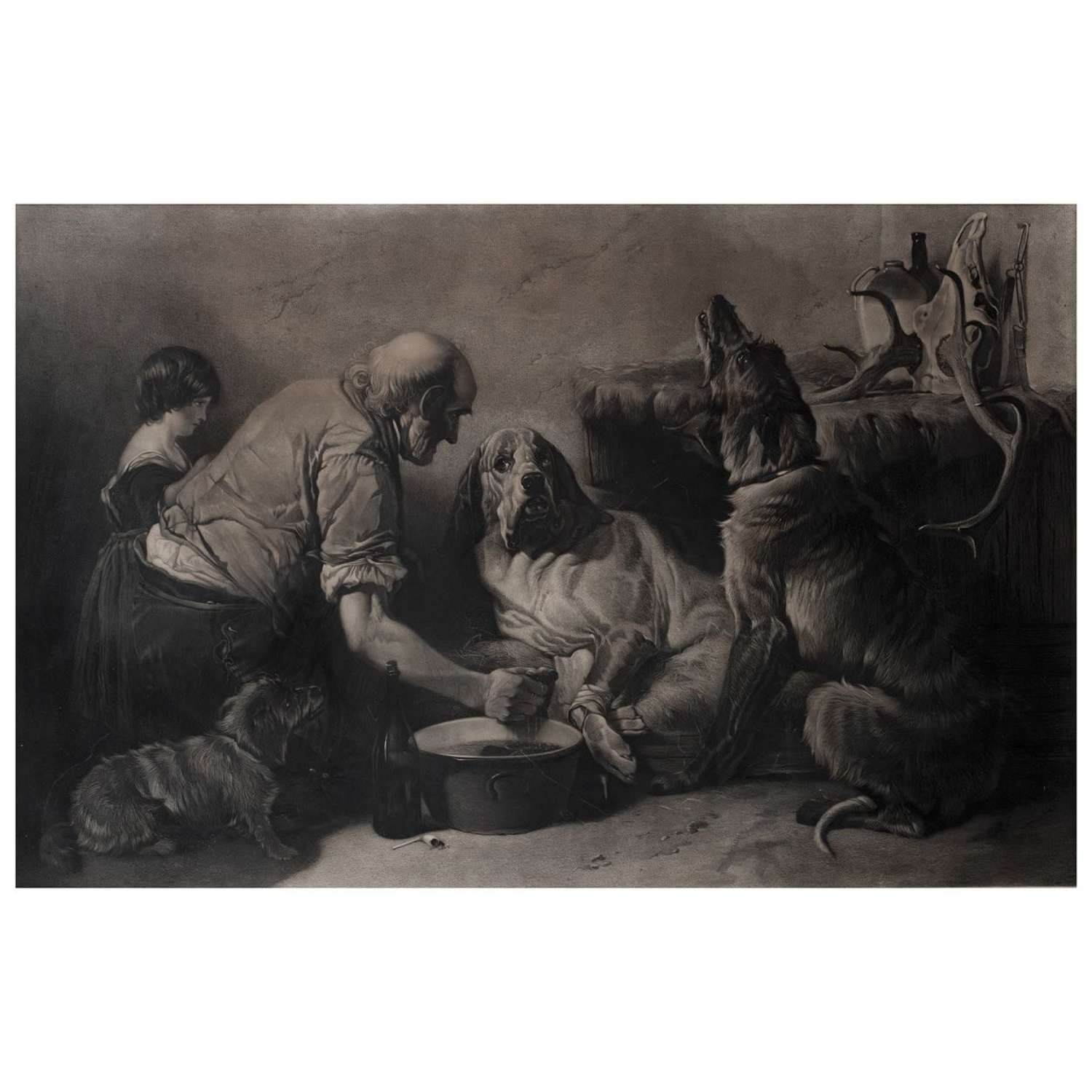 Richard Ansdell - The Wounded Hound - mezzotint