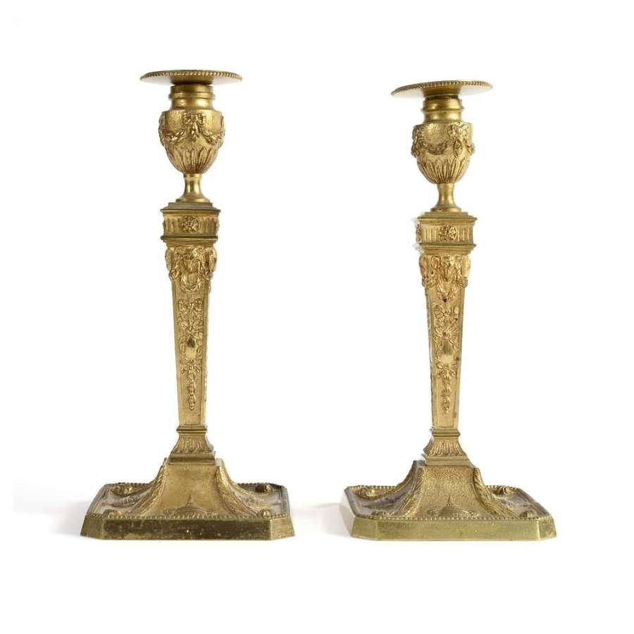 Pair of French ormolu candlesticks