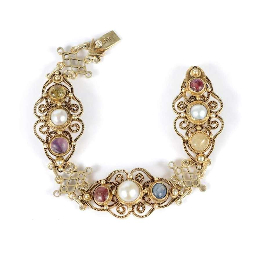 Chinese export silver gilt, natural pearl, sapphire, ruby bracelet