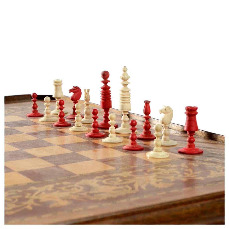 19th Century barleycorn pattern chess set
