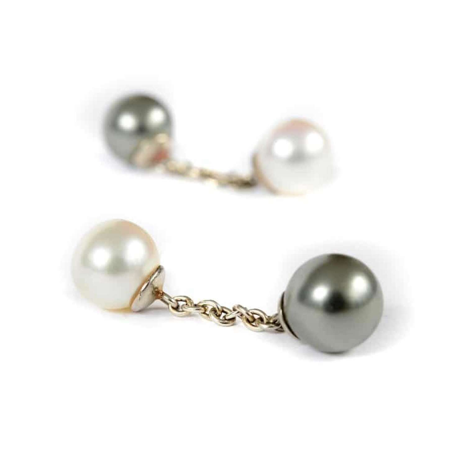 Pair of white and grey cultured pearl cufflinks - retailed by Garrard
