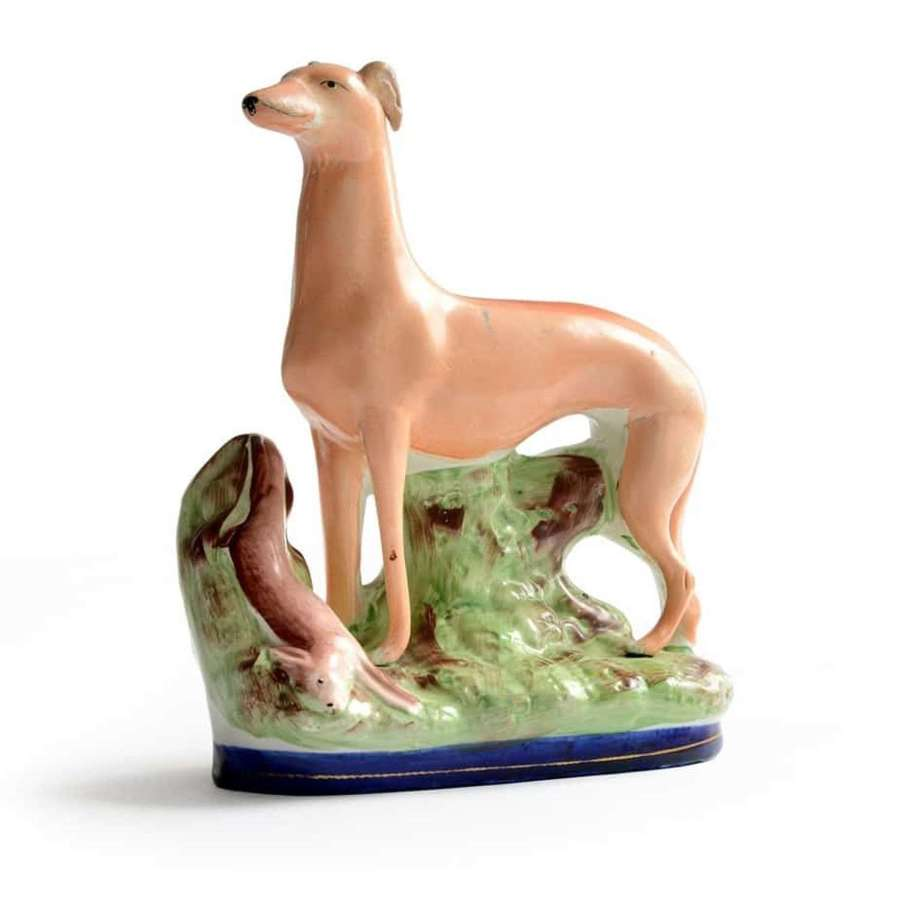 19th Century Staffordshire pottery greyhound, or whippet