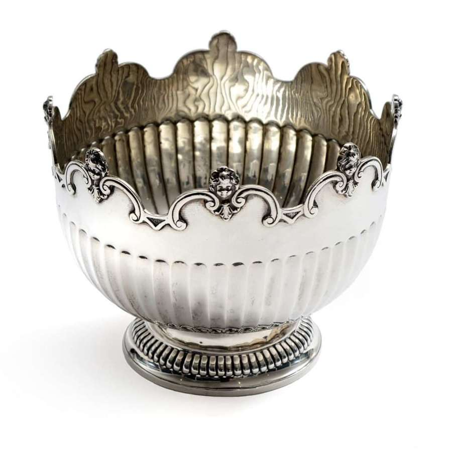 Edwardian Monteith style silver bowl - Page, Keen and Pace of Plymouth
