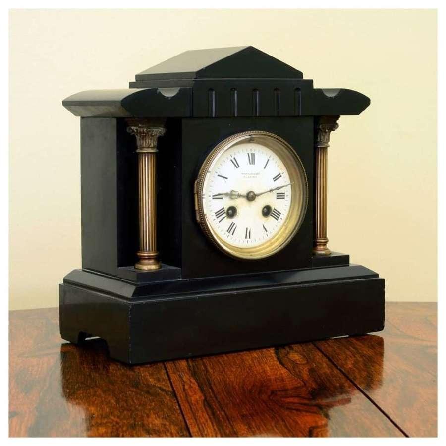 Scottish slate mantle clock - By Brownlee & Son, Edinburgh