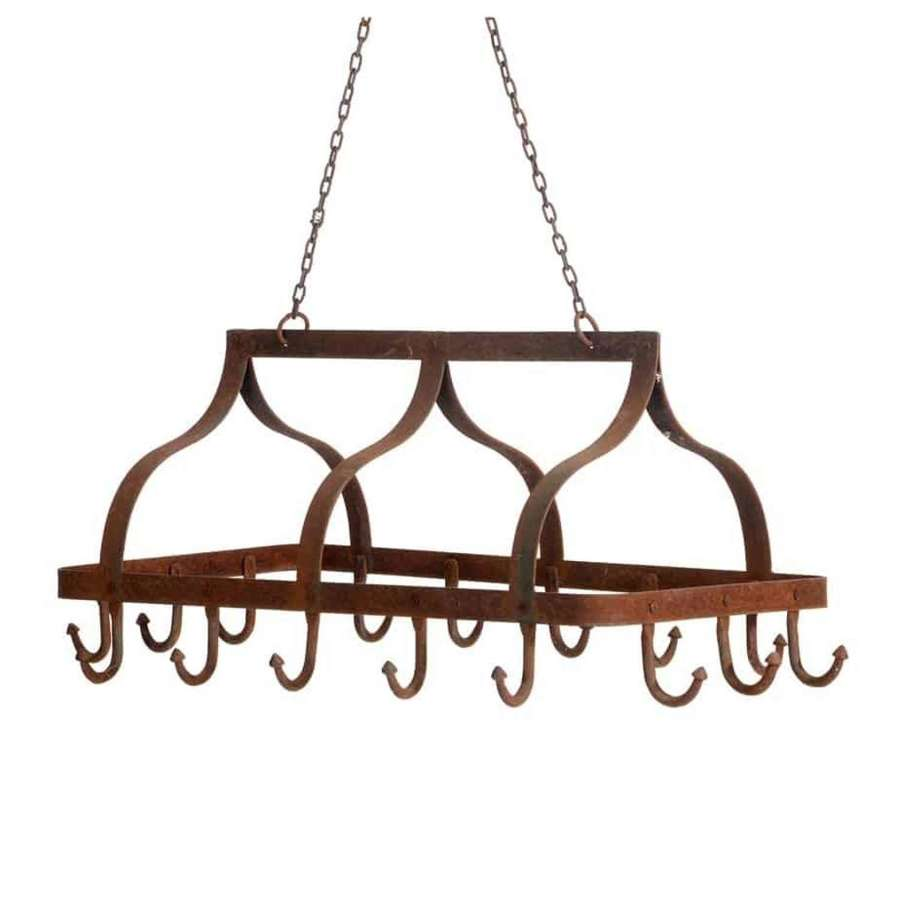 French country house kitchen saucepan rack