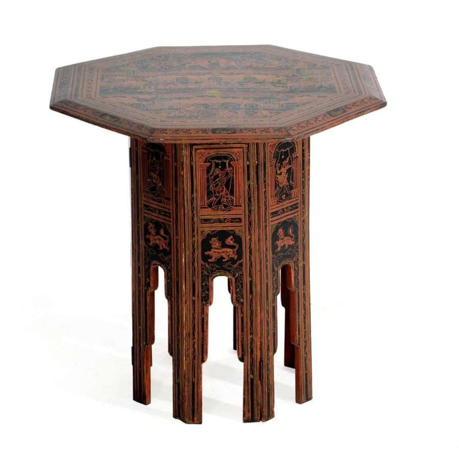 Indian red lacquer table
