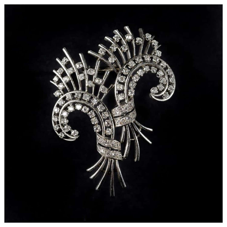 A 1960's French stylised spray diamond brooch