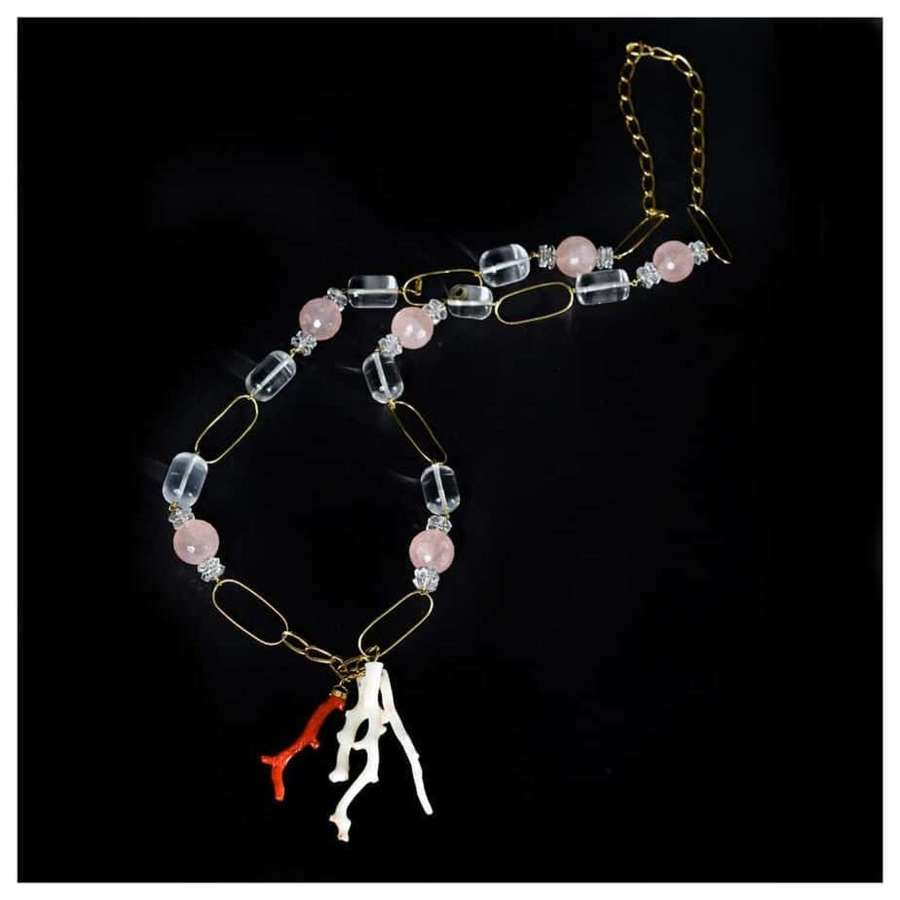 A coral, rock crystal, rose quartz and gold necklace by Guerreiro