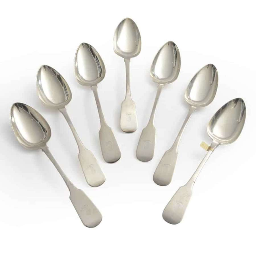 Set of 7 Irish silver Fiddle Pattern spoons - by Charles Marsh