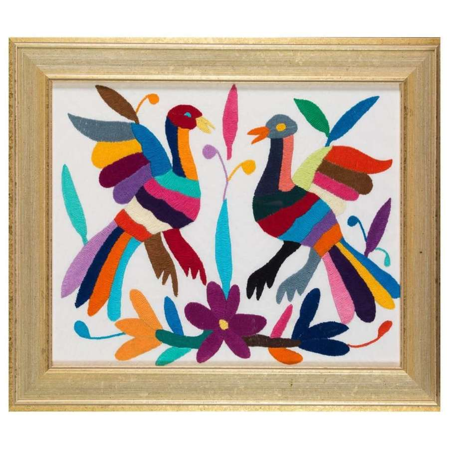 Otomi Mexican Embroidery of Birds