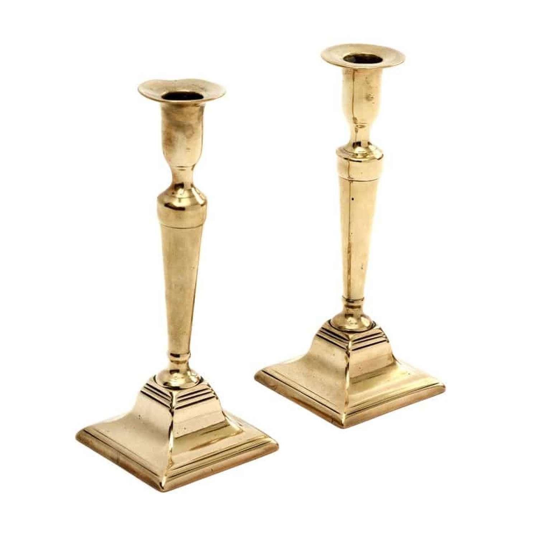 Pair of Georgian bell metal candlesticks