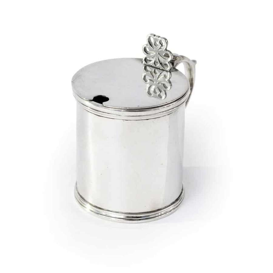 Silver mustard pot with blue glass liner