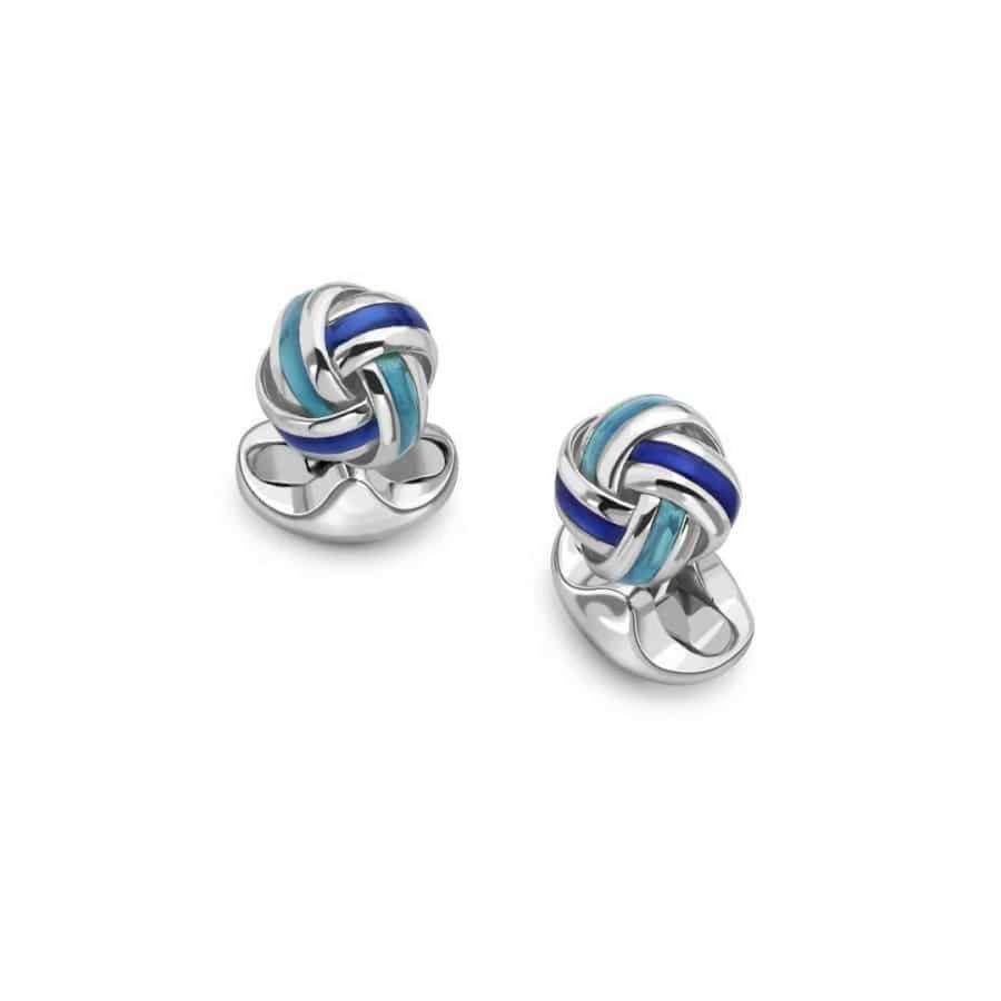 Classic silver and enamel knot cufflinks