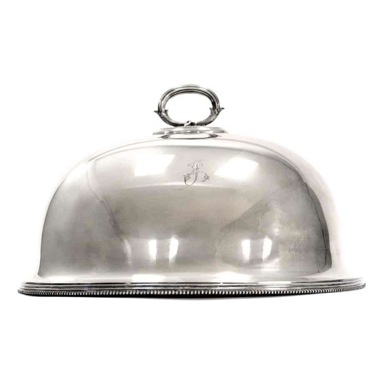 Sheffield silver plate domed plate, ormeat cover