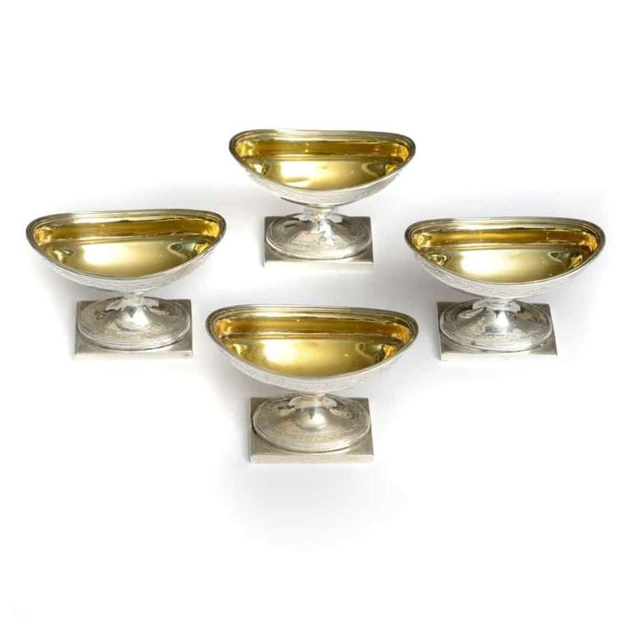 Set of 4 Scottish Georgian silver gilt salts - by McKay and Fennick