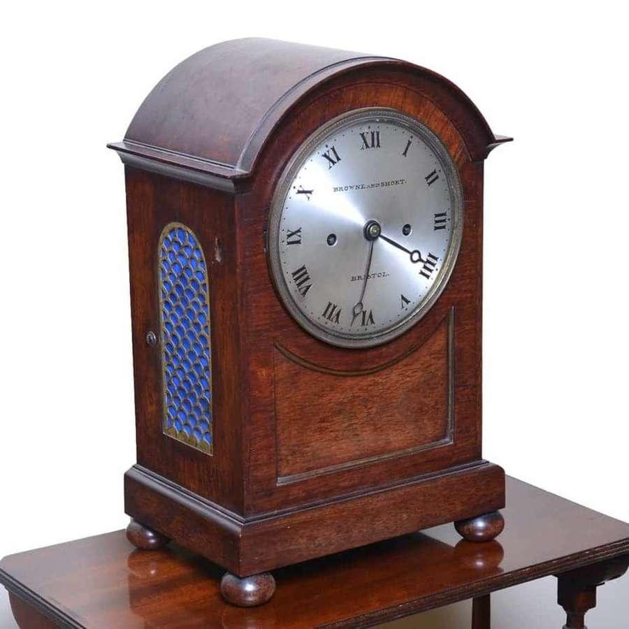 Mahogany bracket clock - by Browne and Short, Bristol