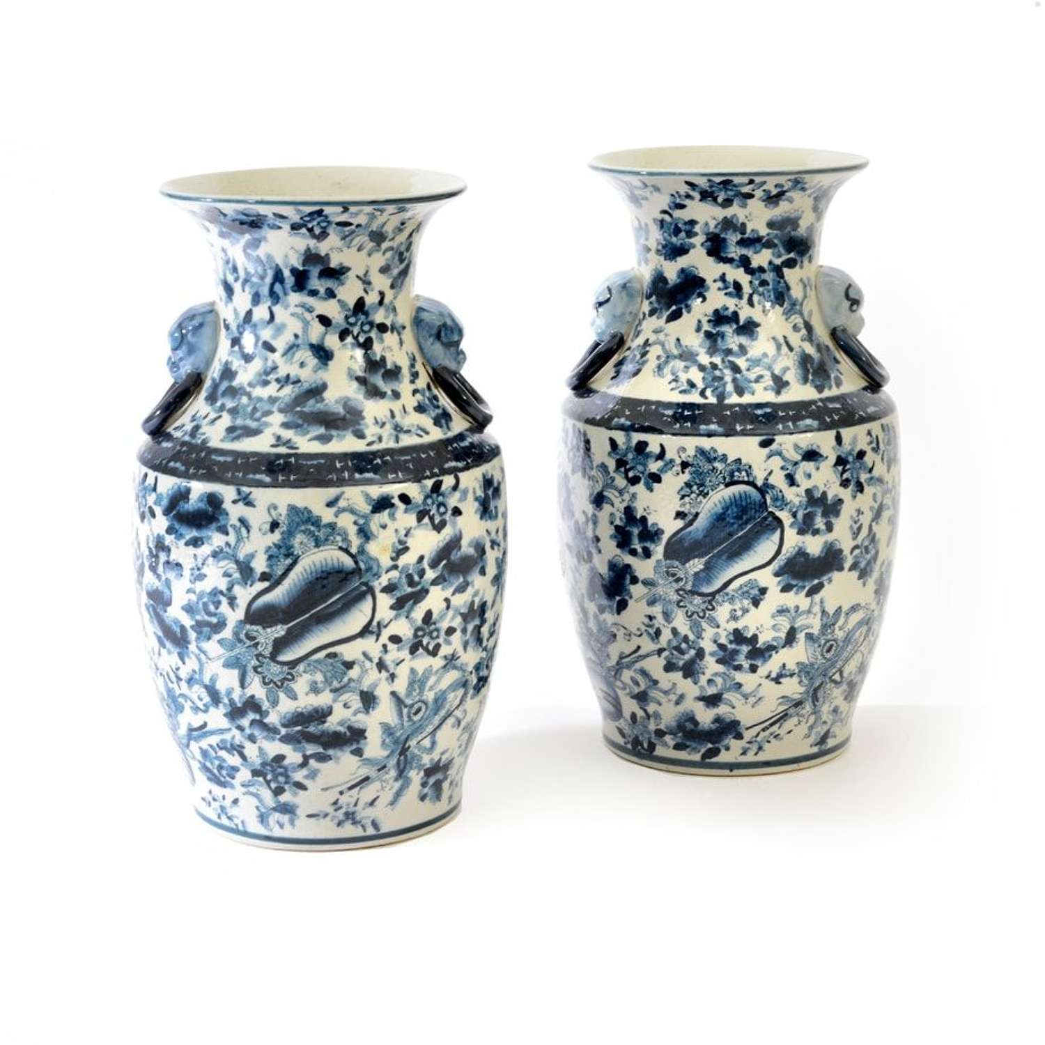 Pair of modern Chinese blue and white baluster vases