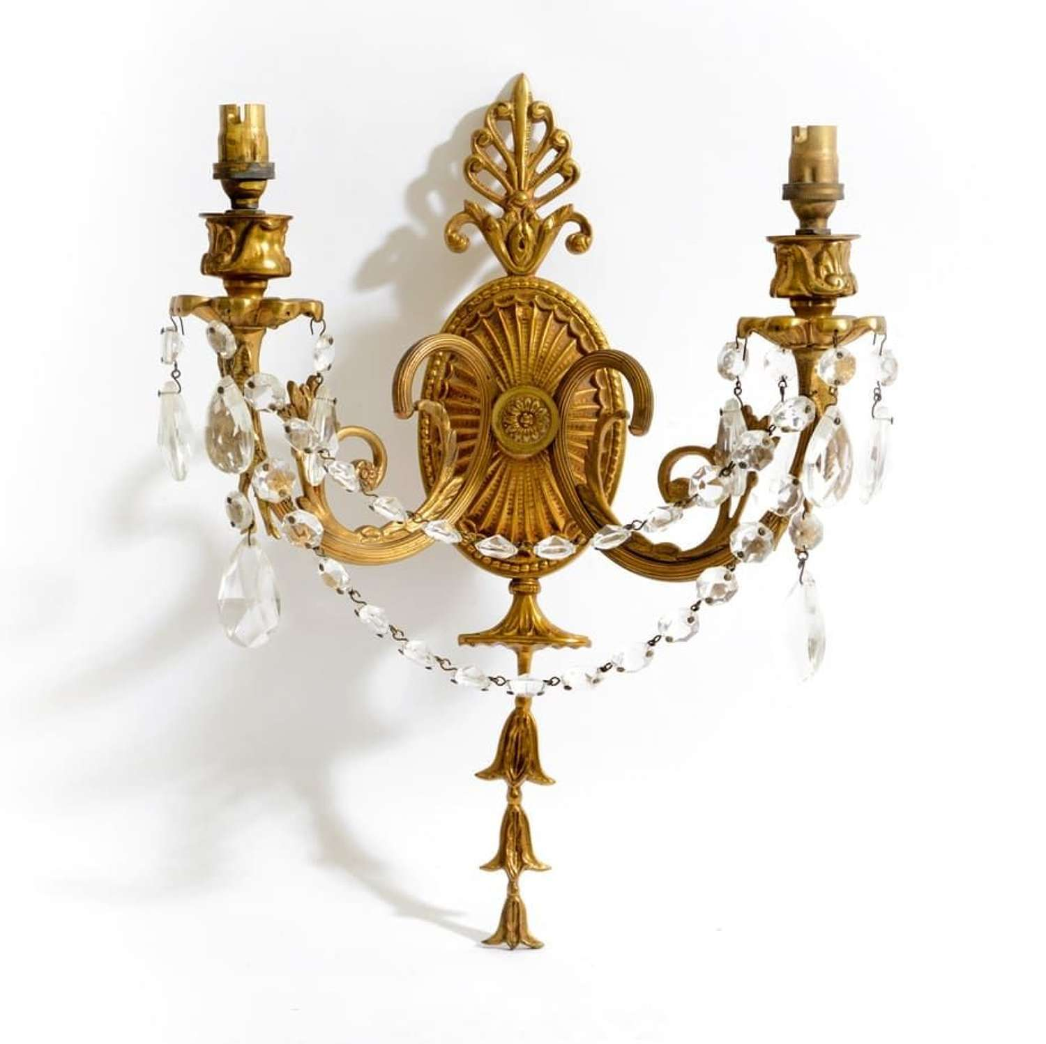 Pair of gilt-bronze twin light wall lights in the Adam style