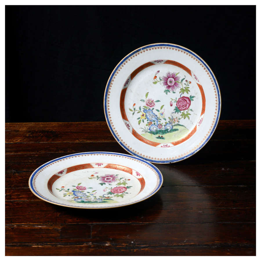Pair of 18th Century Famille Rose Chinese export chargers