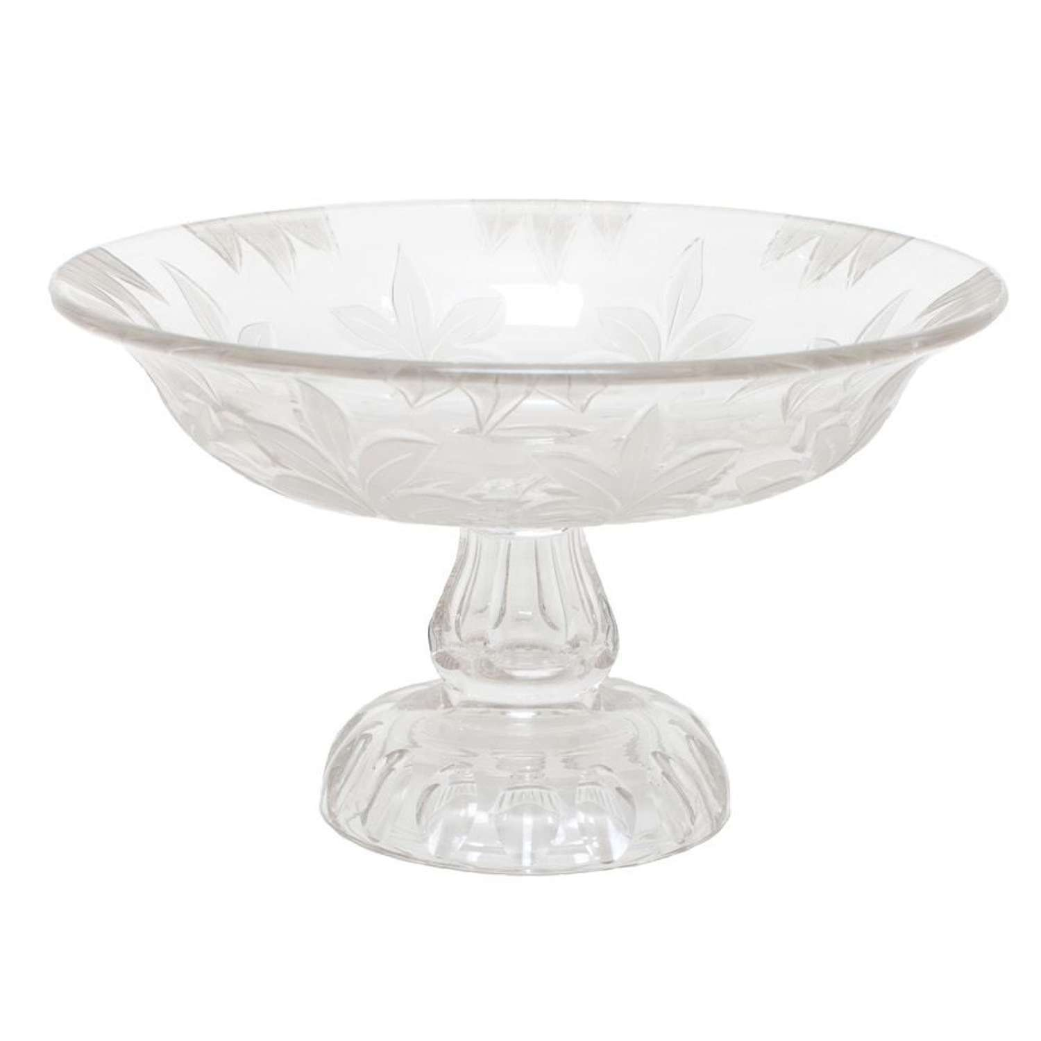 Victorian cut and etched glass comport