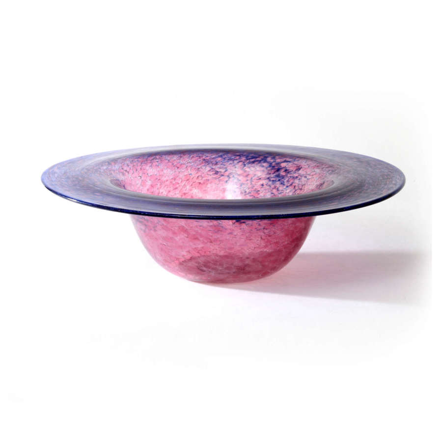 Pre-war Scottish Monart blue and pink glass bowl