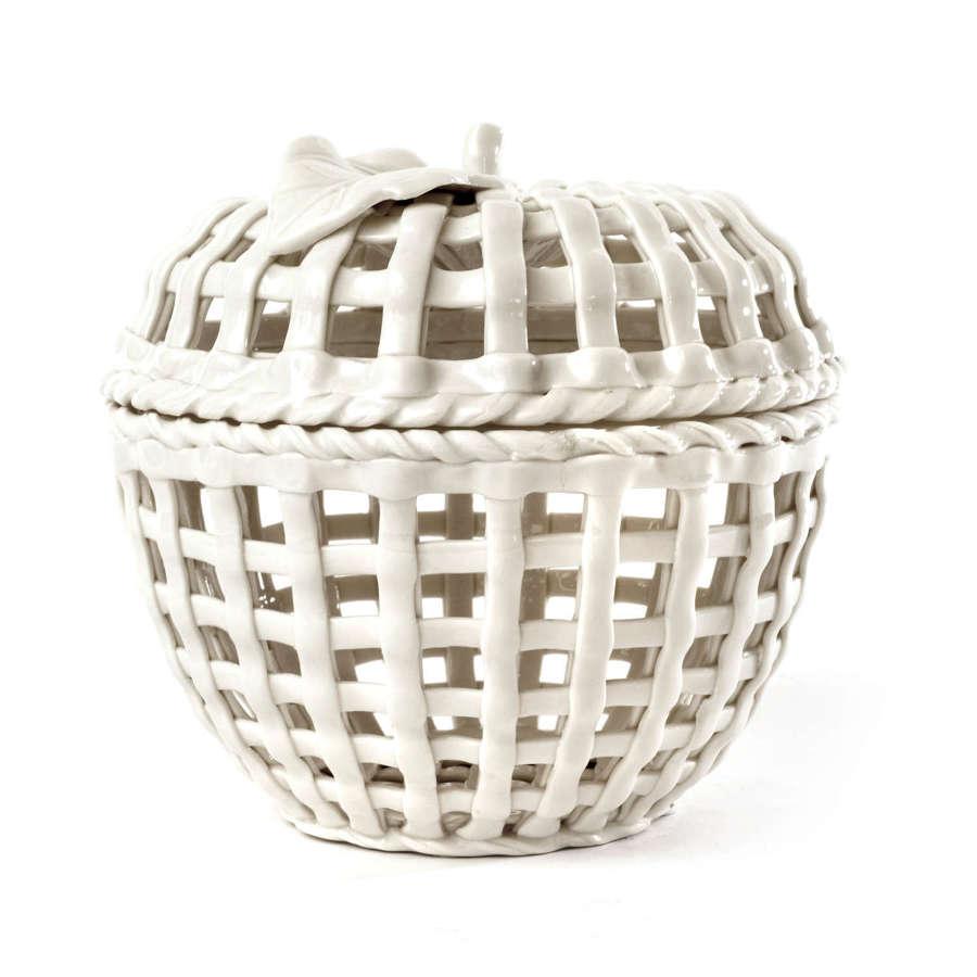 Mid 20th Century creamware apple shaped potpourri basket
