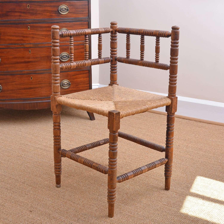 Oak bobbin corner chair