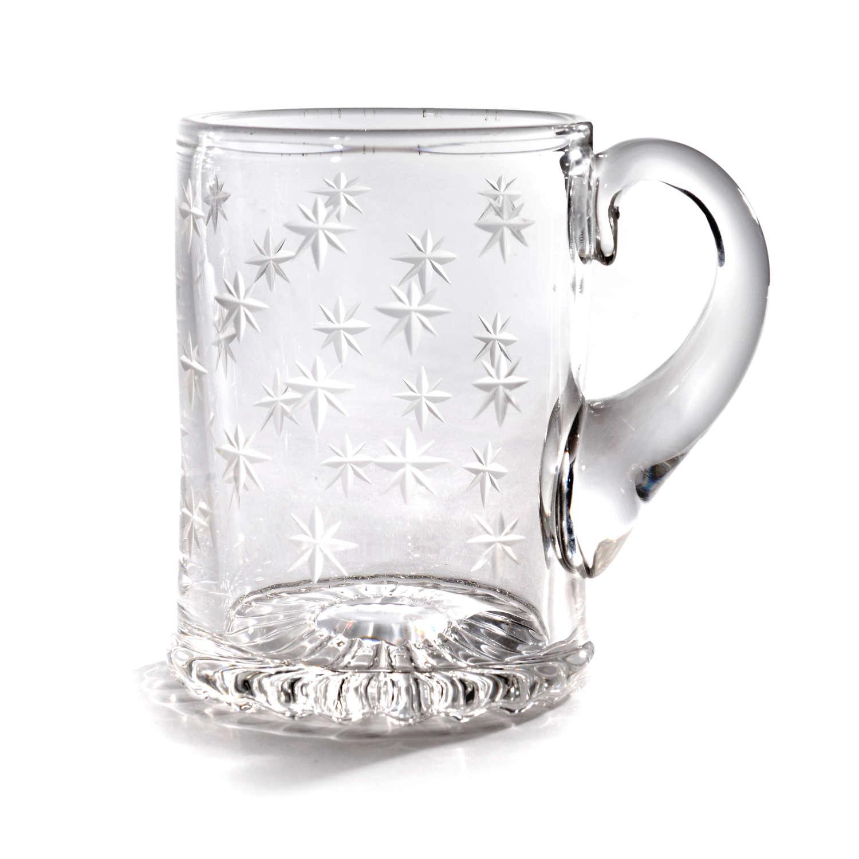 19th Century cut glass star tankard, or christening mug
