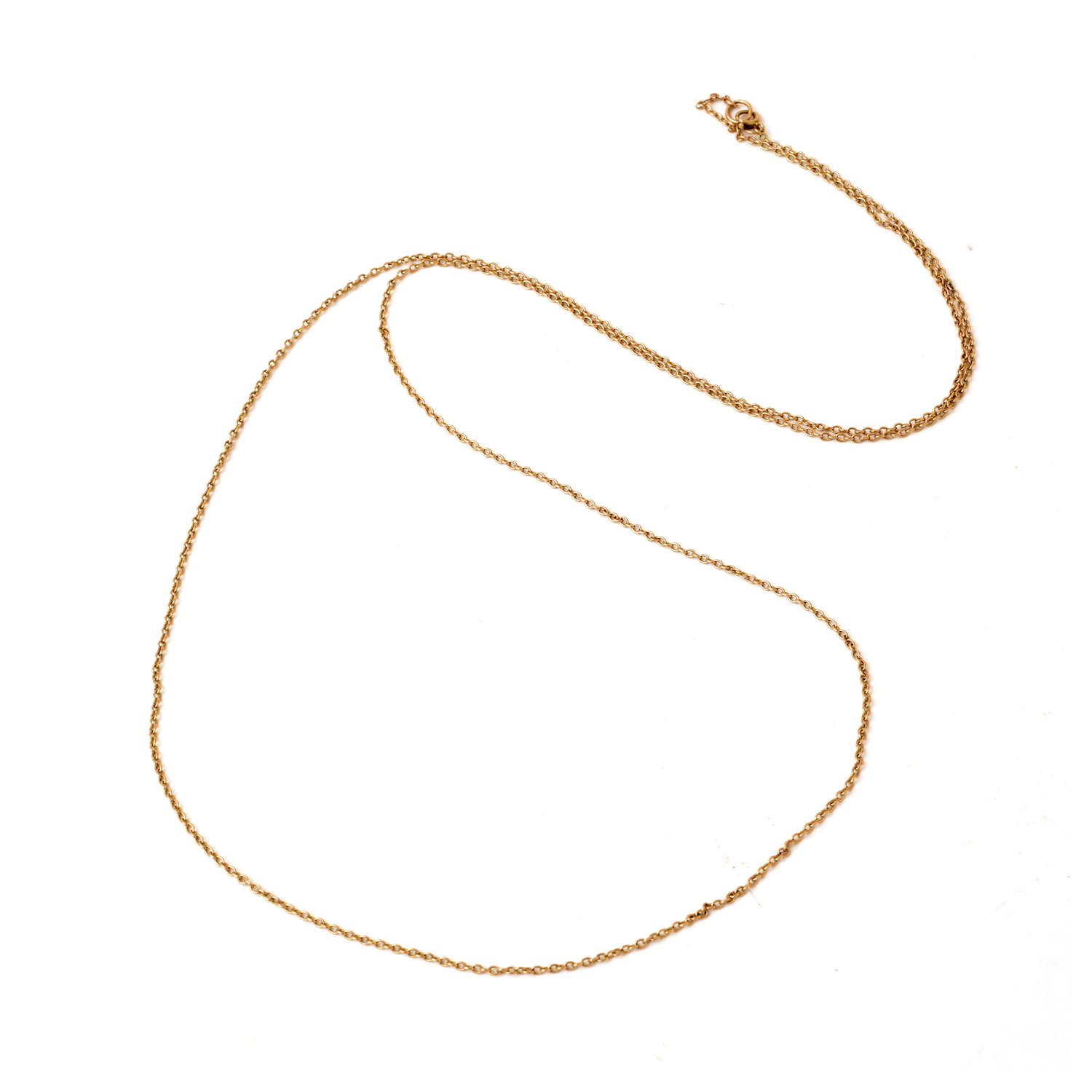9ct gold trace link long chain