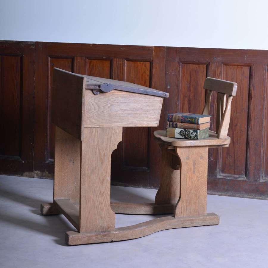 Edwardian oak child's desk and chair