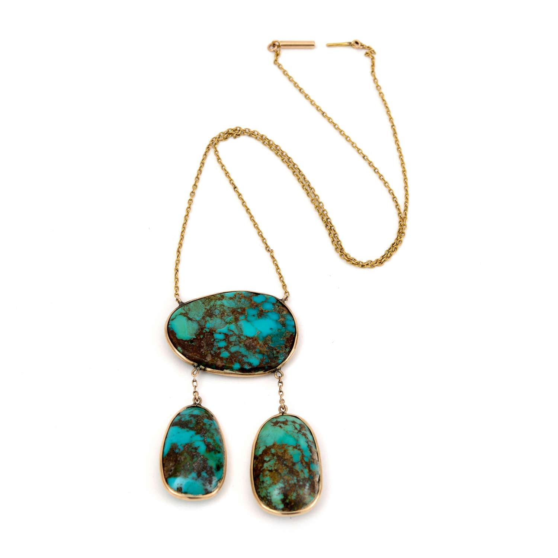Edwardian turquoise and 12K gold necklace