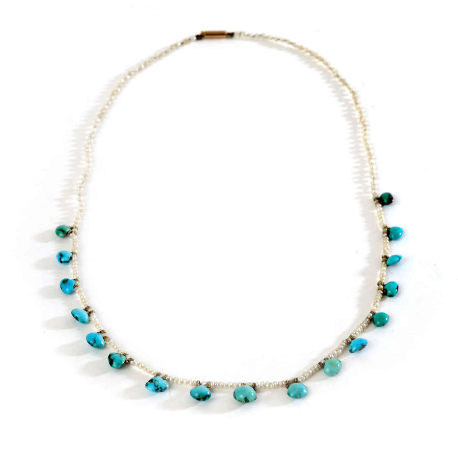 Edwardian turquoise and seed-pearl necklace