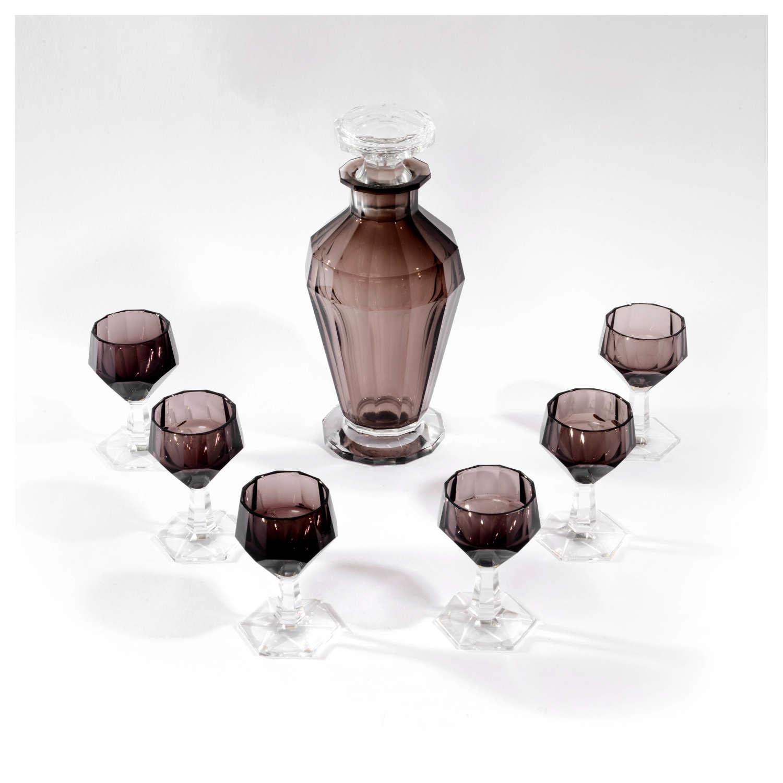 Art Deco purple glass decanter and 6 glasses