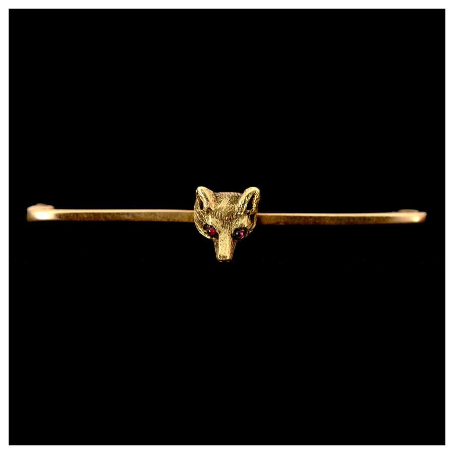 Edwardian gold fox mask stock pin