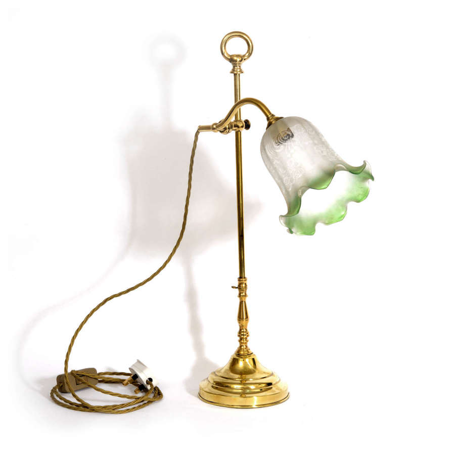Brass swan neck table lamp