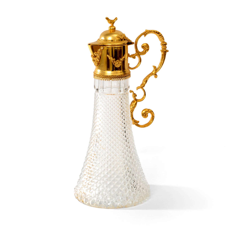 Continental gilt mounted hobnail glass claret jug