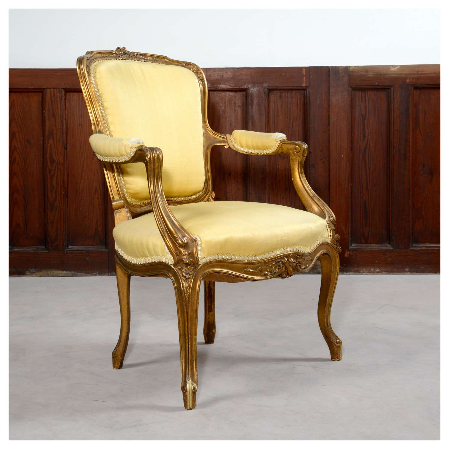 French Louis XV style gilt armchair, or fauteuil