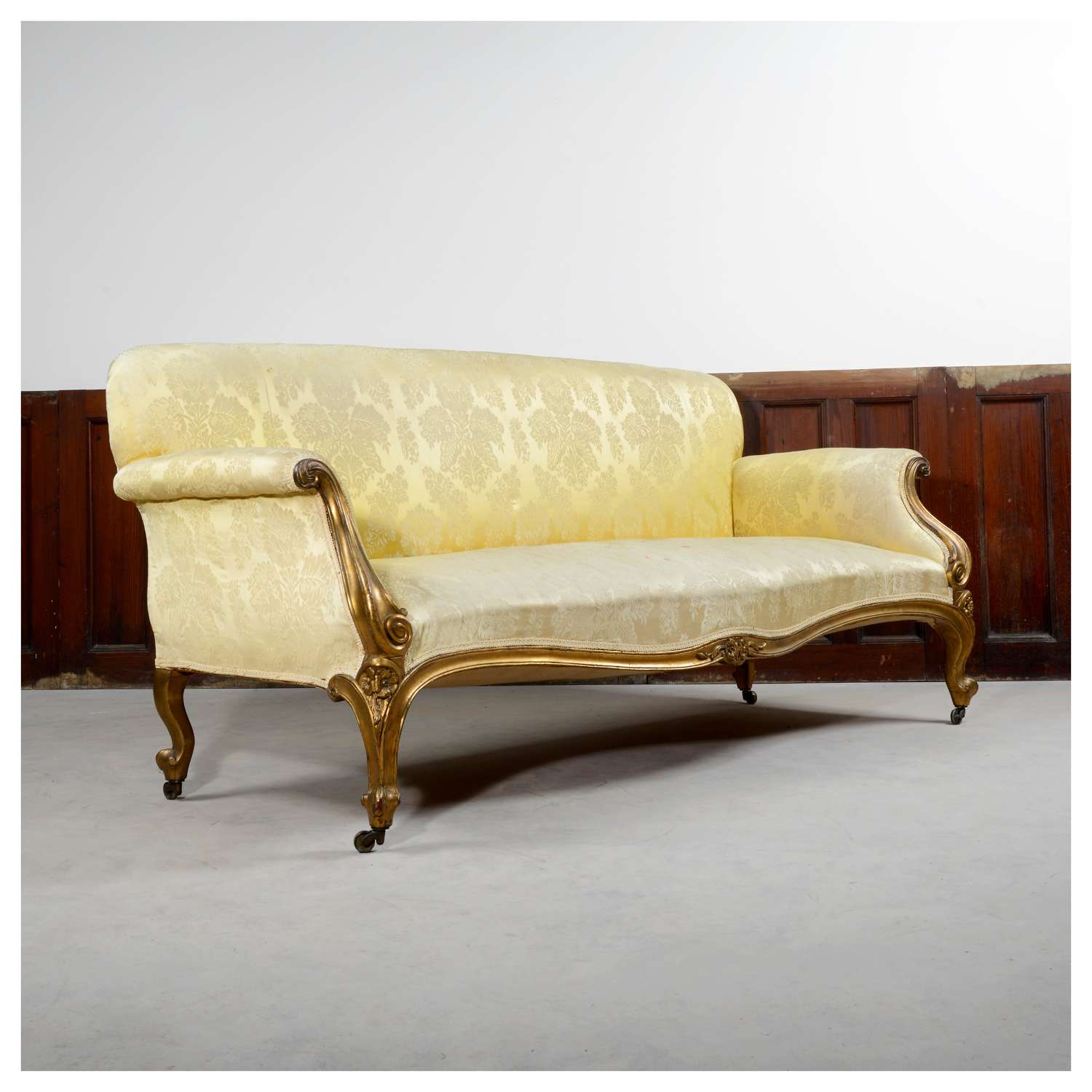 French Louis XV style gilt sofa, or settee