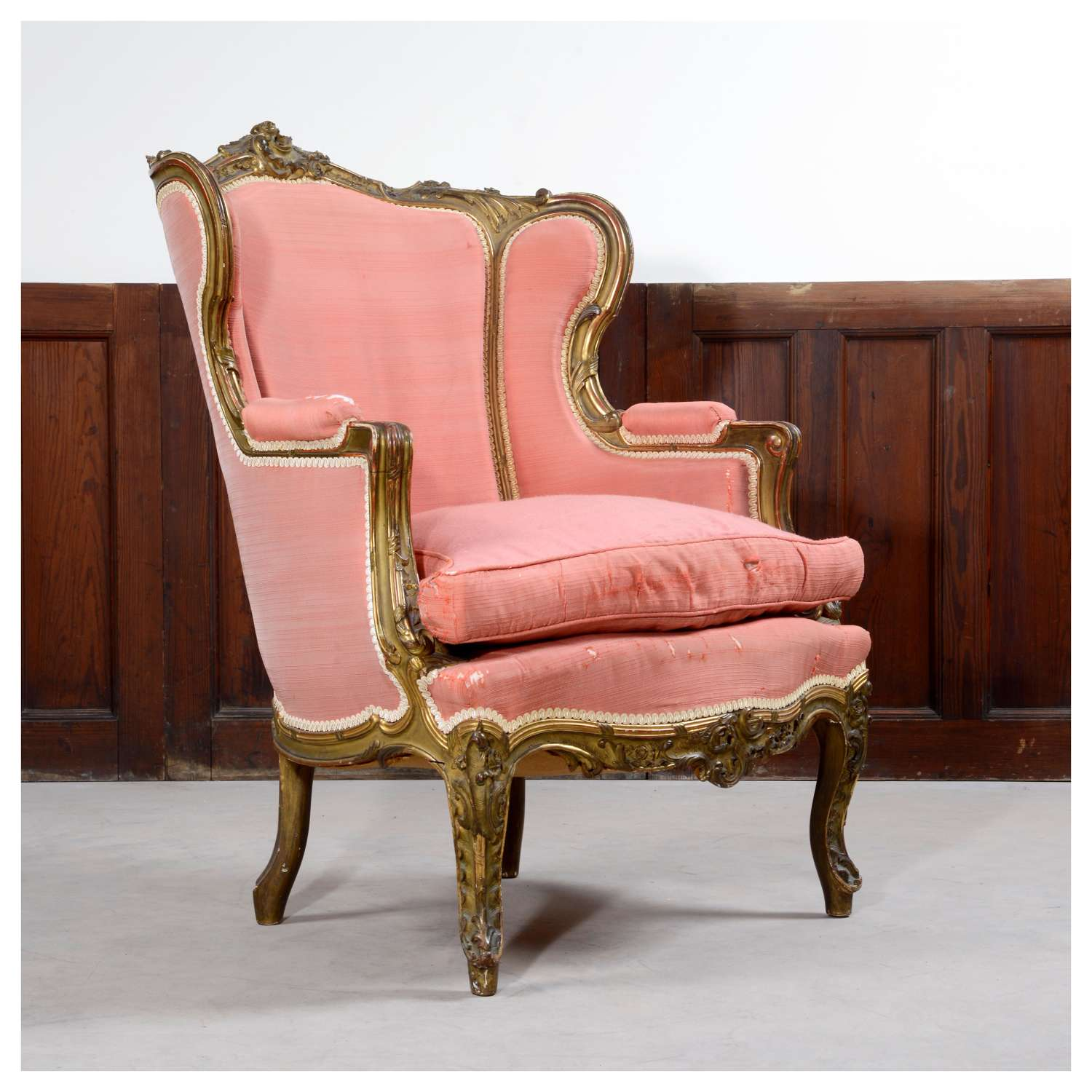 French Louis XV style gilt wing chair, or bergère
