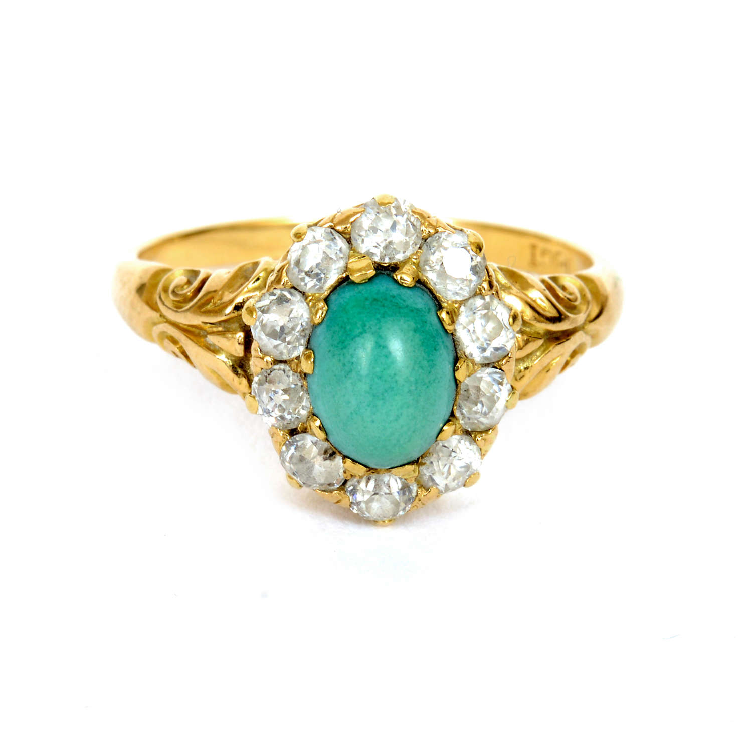 A Victorian turquoise and diamond cluster ring.