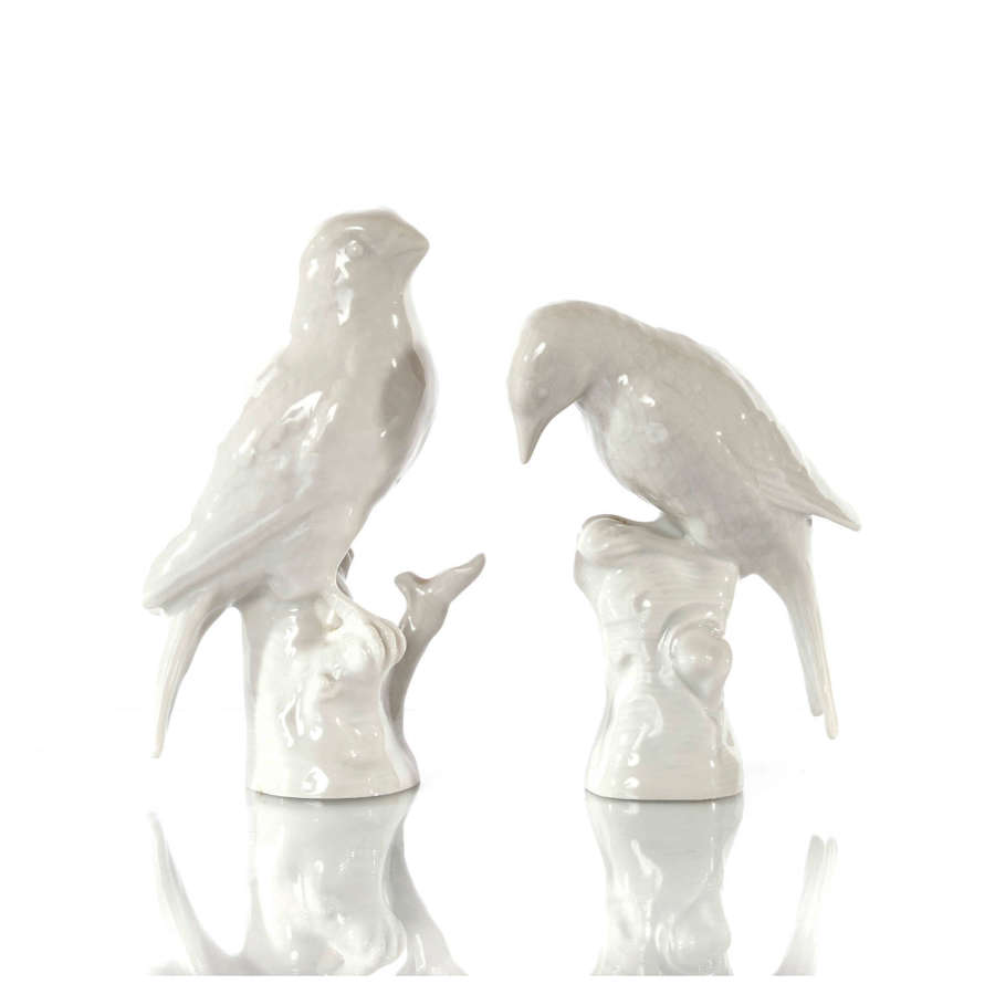 A pair of Berlin (KPM) Blanc de Chine birds, early 20th Century.