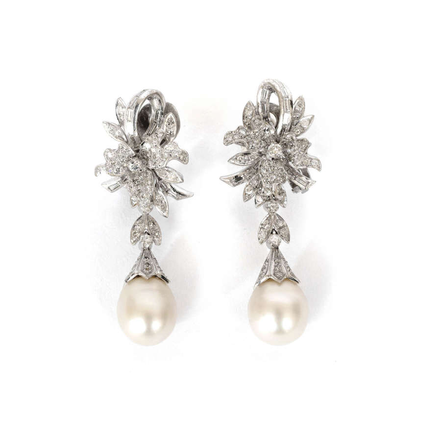 A pair South Sea cultured pearl and diamond earrings.