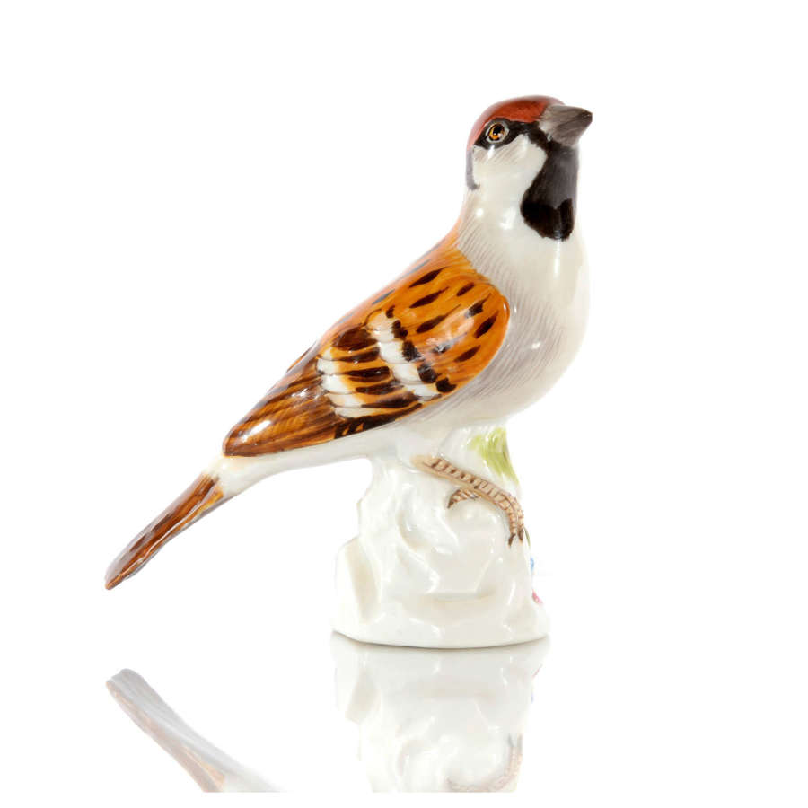 A Meissen figure of a Sparrow II, mid 20th Century.