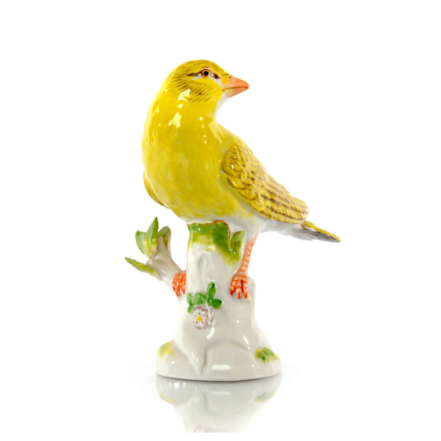 A Meissen figure of a Canary, 20th Century.
