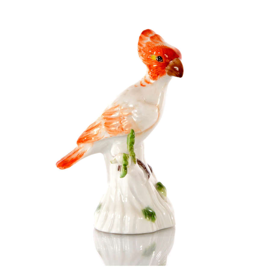 A Meissen miniature figure of a Cockatoo, mid 19th Century.