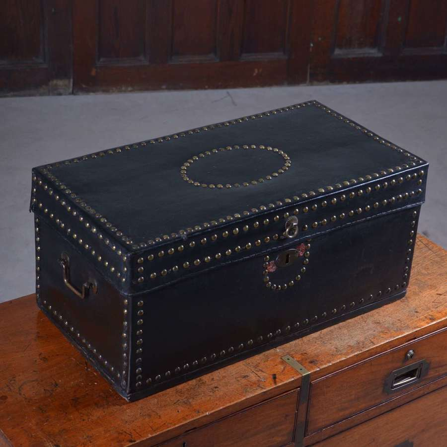Leather bound Chinese Export traveling trunk