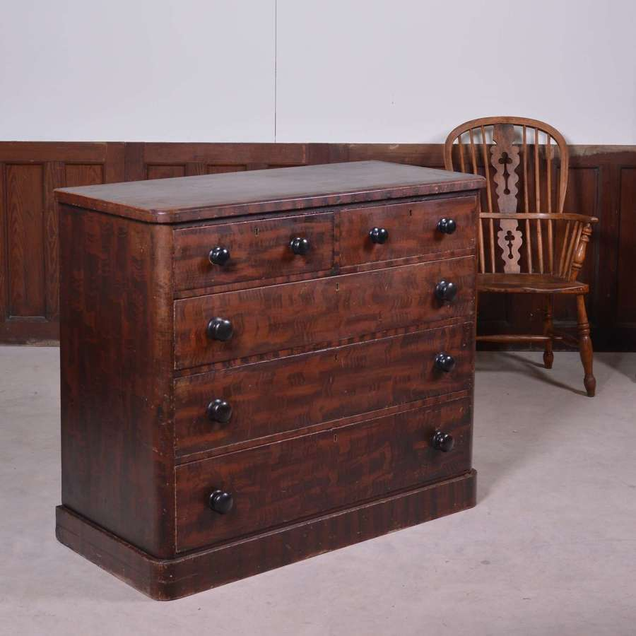 19th Century hand painted pine chest of drawers